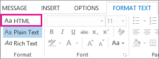 HTML format option on the Format text tab in a message