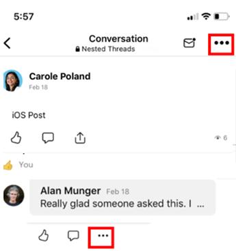 Screenshot showing the mobile deletion menu