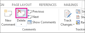 Delete comment button on the ribbon