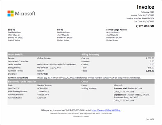 Understand your invoice for Office 365 for business Office 365 – Business Invoice