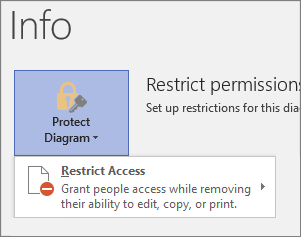 Protect Diagram button, Restrict Access command