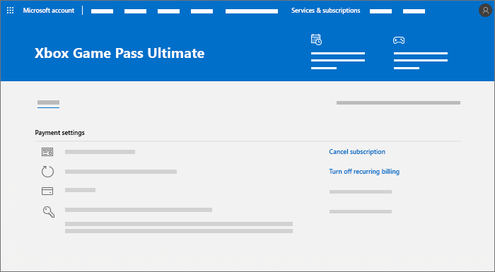 Subscription management page for an Xbox Game Pass Ultimate subscription, where you can cancel or turn off recurring billing.