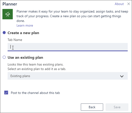 Screenshot of the Planner tab dialog box in Teams