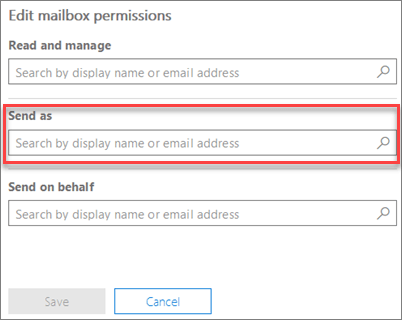 Screenshot: Allow another user to send email as this user