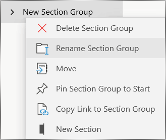 Rename section gourps in OneNote for Windows 10 app