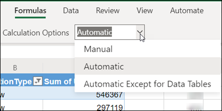 Calculation Mode menu in Excel for the web