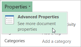 Opening Advanced Properties