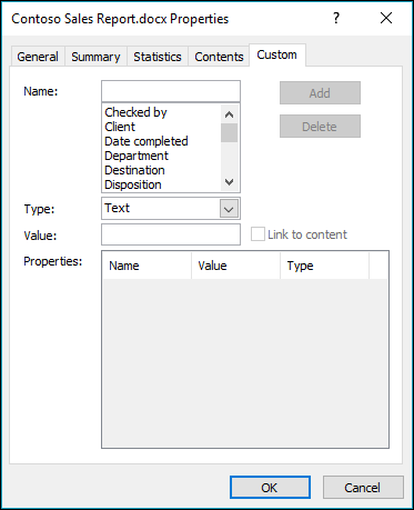 Use the Custom Properties tab to add or modify custom document properties