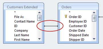 A join line in query Design view