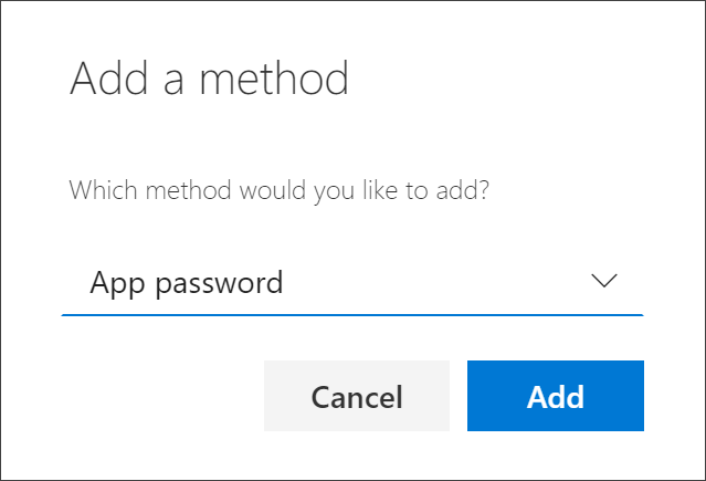 Add method box, with App password selected