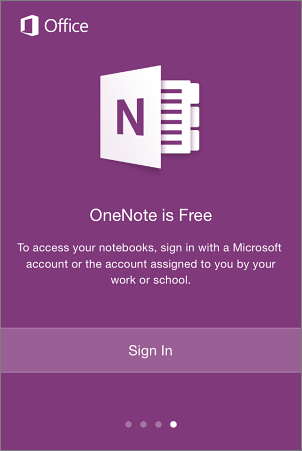 OneNote app sign in screen