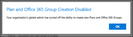 Cannot Create Groups in Microsoft Planner