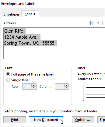 Update contents of the Address box in the Envelopes and Labels dialog box, and then choose New Document.