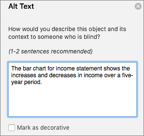 Excel 365 Write Alt Text dialog for pivotcharts