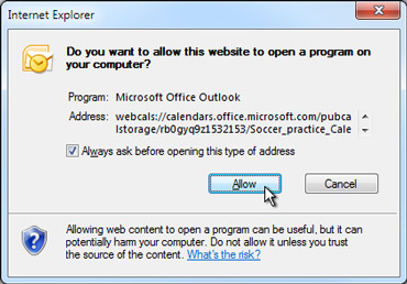 Allow a website to open a program dialog box