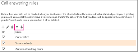 Set up your voice mail outlook arrow buttons used to move rules up and down in the order in which they m4hsunfo Choice Image
