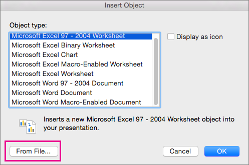 Use Excel data or formulas in PowerPoint for Mac - PowerPoint for Mac
