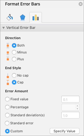 Shows the Format Error Bars pane with Custom selected for Error Amount