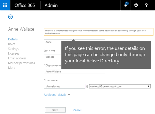 Error when  user details can be changed only in Active Directory