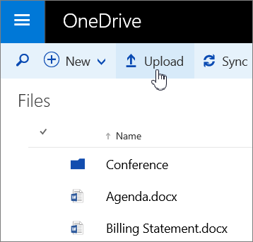 Screenshot of the Upload button in OneDrive for Business in Office 365
