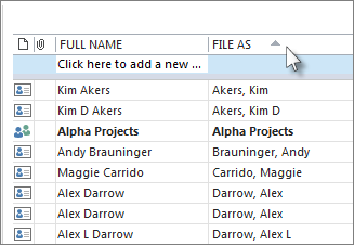 Click a column header to sort on.