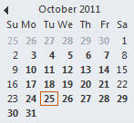 Date Navigator in the To-Do Bar