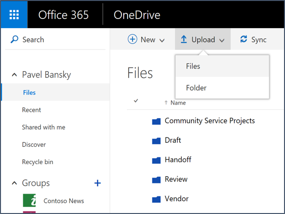Upload files and folders online with OneDrive for Business