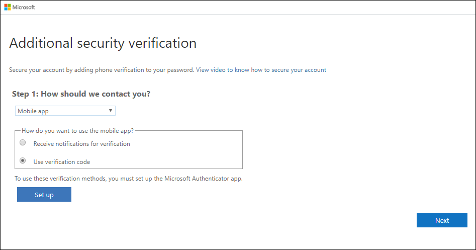 Additional security verification page, with mobile app and notifications option