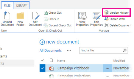 Manage Document Versions In OneDrive For Business