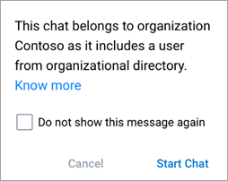 Screenshot showing notification that the chat is an organization chat