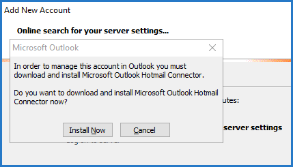 Outlook Hotmail Connector prompt