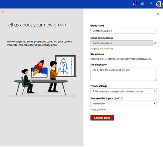 This is the New O365 Group properties page.