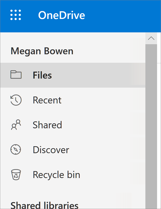 View menu in OneDrive