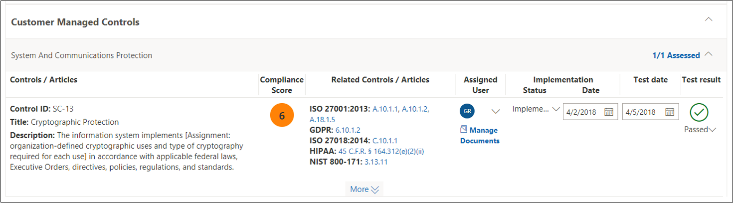 Compliance Manager assessment - NIST 800-53 SC(13) completed