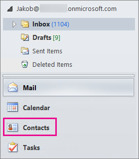 "To see your contacts, choose ""Contacts"" at the bottom of the Outlook navigation menu."