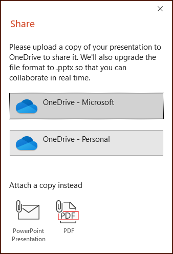 The share dialog in PowerPoint offering to upload your file to the Microsoft Cloud so you can seamlessly share it.
