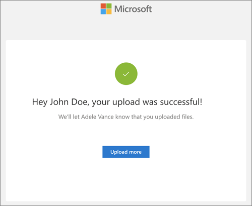The notification received after a successful file upload in response to a file request in OneDrive for Business