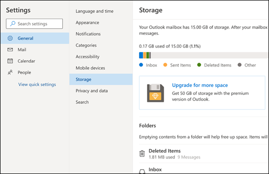 Storage menu for Outlook.com.