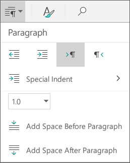 Paragraph spacing options