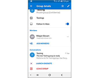Group Details page with Launch OneNote button