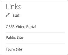 Links list with Edit command