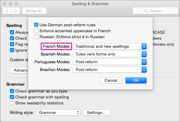 Select rules for checking the spelling of French from the French Modes list.