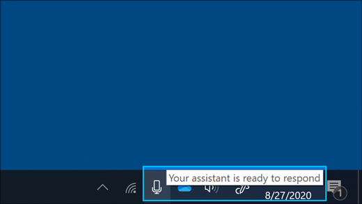 Screenshot of the microphone icon when the assistant is listening
