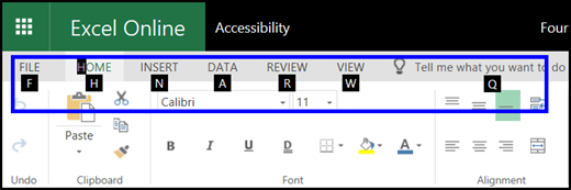 Excel for the web ribbon showing Home tab and KeyTips on all tabs