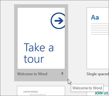 "The ""Take a tour"" template in Word"