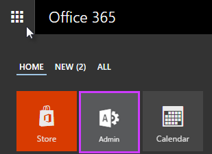Shows Office 365 App Launcher with Admin highlighted.