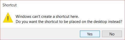 Shortcut alert on Win 10