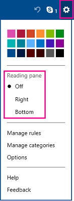 Turn on reading pane in pre-upgrade Outlook.com