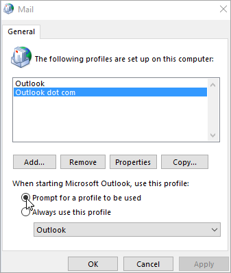 Screenshot of the Profiles box in Outlook