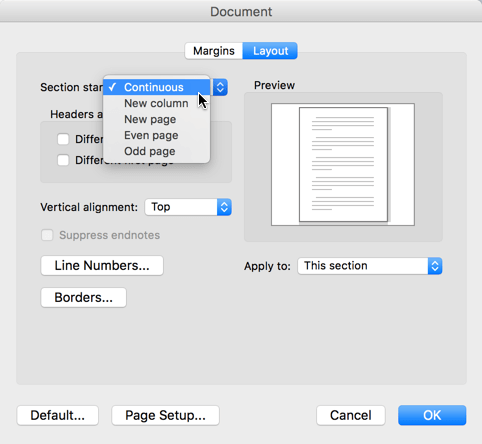 To change a section break to continuous, go to the Format menu, click document then set the section start to Continuous